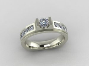 Bar-Set Engagement Ring