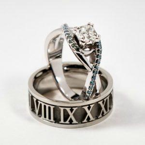 Swirl Engagement Ring Set