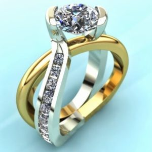 Two-Tone Swirl Engagement Ring