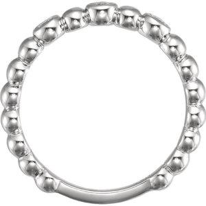 121 10011throughfinger - 14k White Gold Diamond Beaded Band