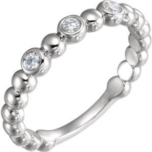 121 10011top - 14k White Gold Diamond Beaded Band