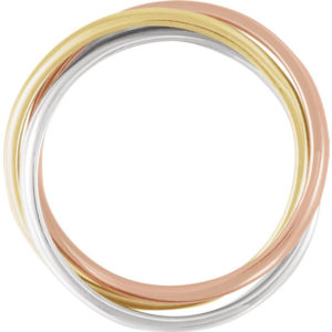 180 10003tf - 14k Tri-Color Rolling Rings
