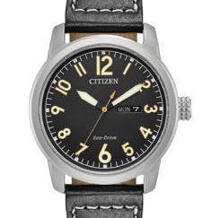 BM8471 01E 245x243 - Citizen Eco-Drive Military Black Leather Strap Watch 42mm