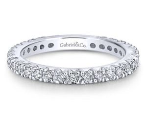 Gabriel2 300x243 - 14k White Gold Round Straight Wedding Band