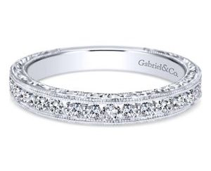 Gabriel3 300x243 - Vintage 14k White Gold Round Straight Wedding Band