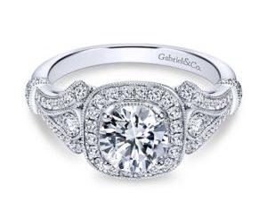 Gabriel4 300x243 - Vintage 14k White Gold Round Halo Engagement Ring
