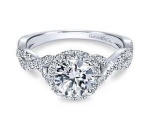 Garbriel6 300x243 - 14k White Gold Round Halo Engagement Ring
