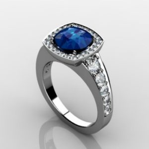 Sapphire and diamond cushion halo engagement ring Copy - Custom Design Portfolio