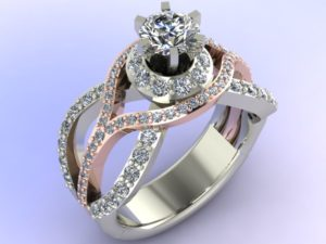 White and rose gold diamond swirl engagement ring - Custom Design Portfolio