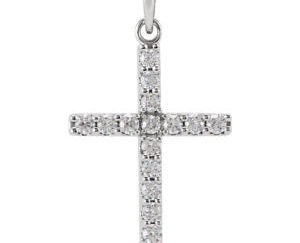 stsr42308front 300x243 - 14k White Gold 1/2 CT Diamond Cross