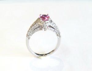 160 10008 - Vintage Pink Sapphire Diamond Ring