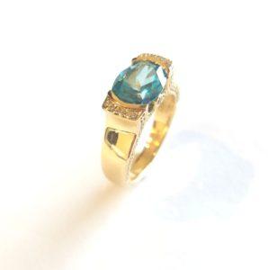 160 10038 e1498932917669 - Half-Bezel Blue Topaz Diamond Ring