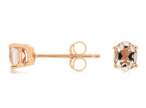PE3342M - Morganite Oval Stud Earrings