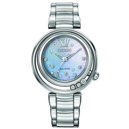 EM0320 59D AdShot 1024x1024 416x416 - Citizen L Sunrise Eco-Drive Diamond Watch - Stainless Steel - Blue MOP