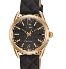 FE6083 13E 233x243 - Citizen Womens DRIVE LTR - Rose Gold-Tone Case - Black Leather Strap