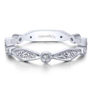 LR4749W45JJ 1 - 14K White Gold Stackable Ladies' Ring