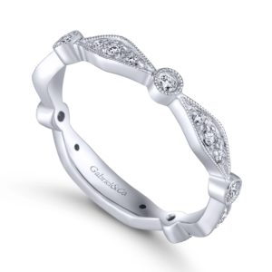 LR4749W45JJ 3 - 14K White Gold Stackable Ladies' Ring