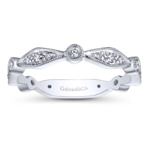 LR4749W45JJ 4 - 14K White Gold Stackable Ladies' Ring