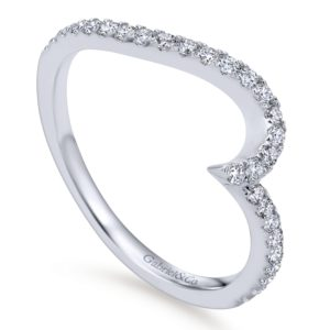 WB7232W44JJ 3 - 14K White Gold Round Curved Wedding Band
