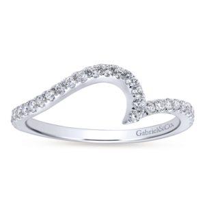 WB7232W44JJ 5 - 14K White Gold Round Curved Wedding Band