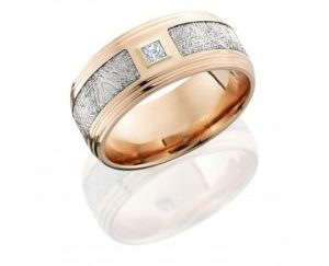 14kr9f2s145seg metdiaprn10b 300x243 - 14K Rose Gold Flat Band with Meteorite Inlay and Diamond