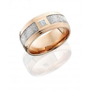 14kr9f2s145seg metdiaprn10b - 14K Rose Gold Flat Band with Meteorite Inlay and Diamond