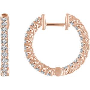 652854r - 1ct Diamond Hoop Earrings