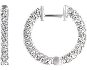 652854wg 300x243 - 1ct Diamond Hoop Earrings