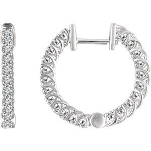 652854wg - 1ct Diamond Hoop Earrings
