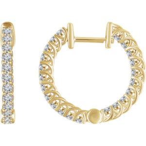 652854y - 1ct Diamond Hoop Earrings