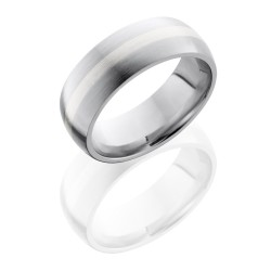CC8D12 SS SATIN - Cobalt Chrome 8mm Domed Band with 2mm Sterling Silver inlay