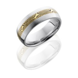 CC8D13 M18KYSH - Cobalt Chrome 8mm Domed Band with 3mm 18K Yellow Gold and Shakudo Mokume inlay