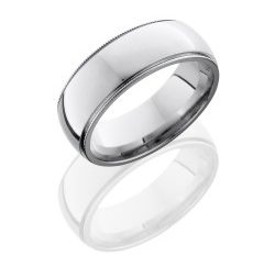 CC8D2MIL 250x243 - Cobalt Chrome 8mm Domed Band with Milgrain