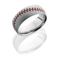 CC8DBASEBALLA 250x243 - Cobalt Chrome 8mm Domed Band with Baseball Pattern and Antiquing