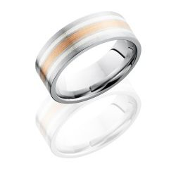 CC8F1221 14KRSS 250x243 - Cobalt Chrome 8mm Flat Band with 2mm 14K Rose Gold and Two 1mm Sterling Silver inlays
