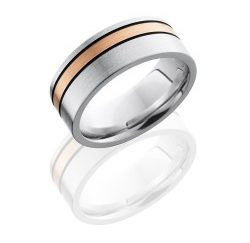 CC8F12OC 14KRMGA 250x243 - Cobalt Chrome 8mm Flat Band with 2mm Off-Center 14K Rose Gold and Two 1mm Sterling Silver inlays