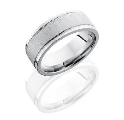 CC8FEC2WUMIL 250x243 - Cobalt Chrome 8mm Flat Band with Elevated Center and Milgrain