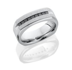 CC8FGESQ9XBLKDIA 250x243 - Cobalt Chrome 8mm Flat Band with Grooved Edges and Laser Carved Pattern