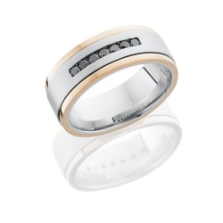 CC8FGEW2EDGE1.5 14KRBLKDIA7X.04CH - Cobalt Chrome 8mm Flat Band with 14K Rose Gold Grooved Edges and Seven .04ct Black Diamonds - TCW .28
