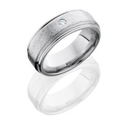 CC8REFDIA.07F 250x243 - Cobalt Chrome 8mm Flat Band with Rounded Edges and .07ct Diamond