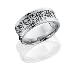 CC9REC LCVCELTIC18 - Cobalt Chrome 9mm Concave Band with Rounded Edges and Laser Carved Celtic Pattern