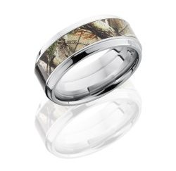 CCCAMO9B15S RTAP 250x243 - Cobalt Chrome 5mm Flat Band with 3mm Realtree Pink AP Camo inlay and .05ct Diamond