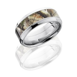 CCCAMO9B15S RTAP - Cobalt Chrome 9mm Flat Band with Beveled Edges and 5mm Realtree AP Camo inlay