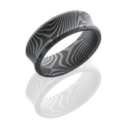 D8CBFLATTWIST 250x243 - FDamascus Steel 8mm Concave Band with Beveled Edges in Flattwist Pattern