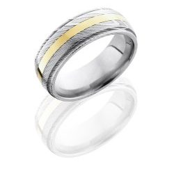D8DGE12 14KY 250x243 - Damascus Steel 8mm Domed Band with Grooved Edges and 2mm 14K Yellow Gold inlay