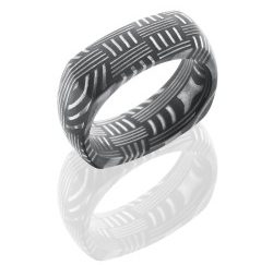D8DSQBASKET 250x243 - Damascus Steel 8mm Domed EuroSquare Band in Basket Pattern