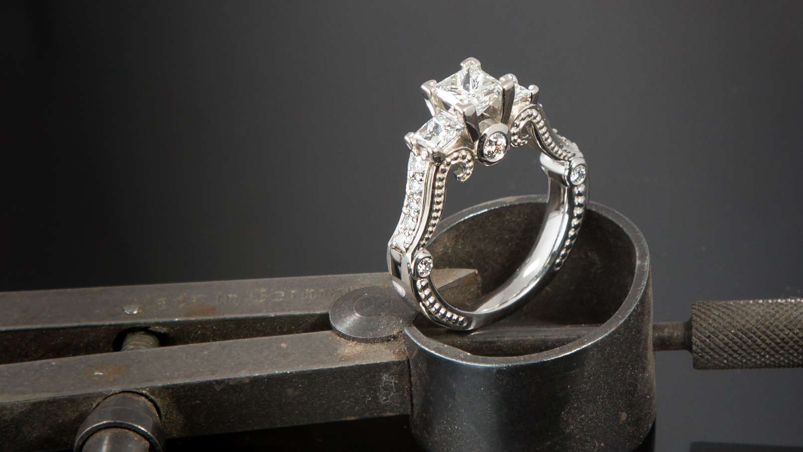 Three-Stone Ring with Scroll Detail