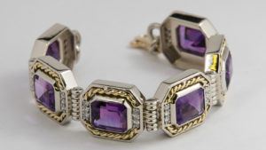 Amethyst and Diamond Rope Bracelet