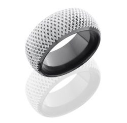 Z10DB KNURL 250x243 - Zirconium 10mm Domed Band with Beveled Edges and Knurl Pattern