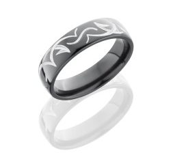 Z6D TRIB 250x243 - Zirconium 6mm Domed Band with Tribal Pattern
